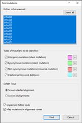 Find mutation settings